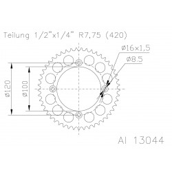 Corona ESJOT Aluminio 51-13044 60 dientes
