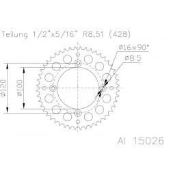 Corona ESJOT Aluminio 51-15026 50 dientes
