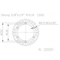 Corona aluminio ESJOT Yamaha 51-32001-47