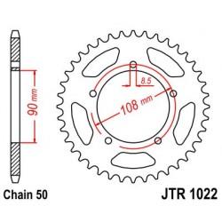Corona JT 1022 de acero con 38 dientes