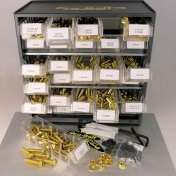 Cabina de tornilleria mixta Pro-Bolt 500 piezas Aluminio oro (Taller) BCAB500G