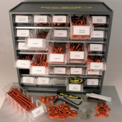 Cabina de tornilleria mixta Pro-Bolt 500 piezas Aluminio naranja (Taller) BCAB500O
