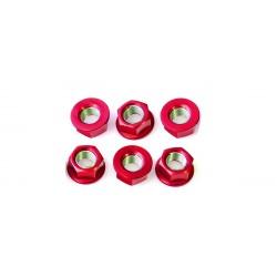 Tornillería de corona 12mm x 1,25 (6 pack) Aluminio rojo Pro-Bolt SPN12R