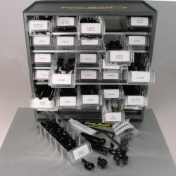 Cabina de tornilleria mixta Pro-Bolt 500 piezas Aluminio negro (Taller) BCAB500BK
